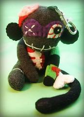 Mini Zombie Sock Monkey Monster - Bag Charm (BirdGurl) Tags: halloween monster bag dead toy monkey sock keychain doll zombie goth mini charm plush accessories