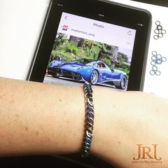Titanium & Rubber bracelet. Colors inspired by a Pagani Huayra. Pic by @madwhips_pag & @wolf_millionaire #JenniferRayJewelry #jrj #titanium #pagani #huayra #paganihuayra #chainmaille #chainmail #stackablebracelets #mensfashion #menswear #mengear #edc #eve (JenniferRay.com) Tags: instagram carbon fiber jewelry exclusive jrj jennifer ray paracord custom
