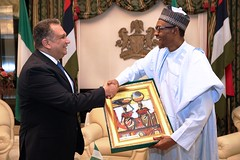 President Buhari receives in farewell audience H.E. Mr Asharaf Abdelkader Salama, the Outgoing Ambassador of Arab Republic of Egypt in Statehouse