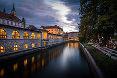 Ljubljana river (Zimeoni) Tags: longexposure river ljubljana cityscape citylights lights travel blue hour twilight sunset clouds
