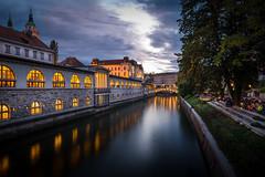 Ljubljana river (Zimeoni) Tags: longexposure river ljubljana cityscape citylights lights travel blue hour twilight sunset clouds