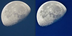 Moon Image Post-Processing Comparative Demonstration (chicbee04) Tags: imagepostprocessing iphoto photos photosvsiphoto imaccomputer appleimaccomputer iphotovsphotos postprocessing compare experiment test evaluation comparison moonfeatures earlymorning cloudless bluesky