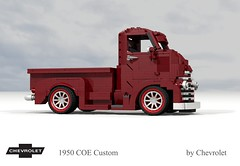 Chevrolet 1950 COE Custom (lego911) Tags: chevrolet chevy chev truck coe custom pickup v8 tray auto moc model miniland lego lego911 ldd render cad povray usa america classic 1950s lugnuts challlenge 107 saturdaymorningshownshine saturday morning show n shine