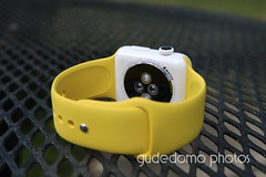 Ceramic Apple Watch with Yellow Sport Band (gudedomo) Tags: apple ceramic watch applewatch white edition watchband band wrist accessory color combination red product 2016 orange yellow mint green bright pink salmon stand blue baby turquoise navy ocean midnight cocoa mocha nylon metal strap link bracelet milanese loop hermes leather