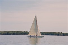 Calm Sailing (smilla4) Tags: sailboat woodenboat sky clouds cascobay maine reflection ra