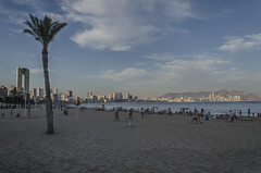 Beachurbanscape (pelpis) Tags: beach urban urbanlandscape urbanscene urbanscape summer 2014 people sky blue city benidorm flickr photo