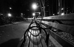 Benches in Cadman Plaza, Brooklyn (Diacritical) Tags: nyc newyorkcity bw brooklyn f18 2012 d4 cadmanplaza iso6400 104mm sec dscrx100 28100mmf1849