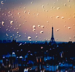 . (Violet Kashi) Tags: city blur paris tower glass rain square droplets twilight eiffel creativeedit