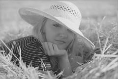 Marta-35 (Don't Just Snap!) Tags: summer blackandwhite bw sun color colour film girl hat analog 50mm blackwhite afternoon minolta kodak poppy poppies fields 100 analogue dynax hay agfa apx ektar c41