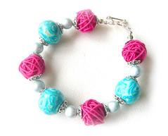 Turquoise rose & pink polymer clay toggle bracelet (Lottie Of London) Tags: london jewellery polymerclay lottie handmadebracelets