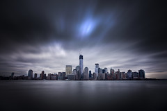 Blue Anomaly (Tim Drivas) Tags: city nyc newyorkcity longexposure skyline architecture clouds canon movement downtown cityscape manhattan worldtradecenter wtc gothamist hdr exchangeplace dreamscape freedomtower cloudmovement 1worldtradecenter 1wtc 4wtc