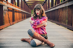 Touch Of Sun 84 (Dan   Hacker   Photography) Tags: bridge sunset model durham boots shorts lipstick bangs plaid enoriver westpointontheeno vintagecolor