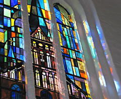 The Church in the Window (Sandra Leidholdt) Tags: city art church glass reflections germany religious deutschland colorful europe cities churches kirche christian german oldtown reflets kiel stnicholaschurch reflejos schleswigholstein nikolaikirche religiousart stainedglasswindows altermarkt stnikolaikirche stnikolai stnicolaschurch saintnikolai sandraleidholdt decorativeglass leidholdt sandyleidholdt