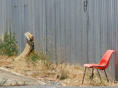 For the Solo Smoker (mikecogh) Tags: tin weeds chair solo desolate alberton unattractive smoko