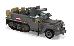 POV_T19 HMC with M2A1 105mm Howitzer (Florida Shoooter) Tags: usa lego ww2 povray ldd 105mmhowitzer m3halftrack t19hmc