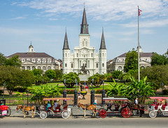 St Louis Cathedral and a Carriage Ride (w4nd3rl0st (InspiredinDesMoines)) Tags: old city travel party vacation urban tourism church architecture fairytale canon landscape photography artwork louisiana day cathedral screens