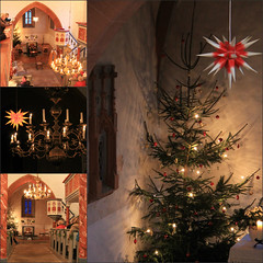 Christmas Eve in the church of Bürden (Gerlinde Hofmann) Tags: germany thuringia village buerden church inside christmastime christaseve heiligabend star herrnhuterstern candlelight chandelier candle christmastree collage churchinside lamp kronleuchter moravianstar weihnachtszeit