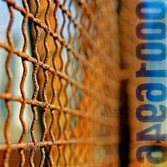 new links must be forged (1crzqbn) Tags: blue sunlight color metal fence square rust shadows bokeh chainlink textures 7d vividimagination artdigital trolled anawesomeshot memoriesbook
