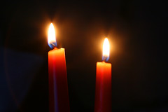 Day 337 - Flaming Candles (Ben936) Tags: light festive haze candle darkness seasonal flame burn wax illuminate