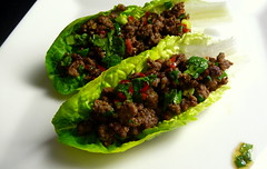 Chilli beef lettuce wraps & coriander dressing (Blue moon in her eyes) Tags: red food recipe photography ginger sauce beef lettuce homemade gordon garlic soy mince lime oliveoil chilli brownsugar coriander fishsauce gem sesameoil ramsay nampla limejuice springonion limepeel