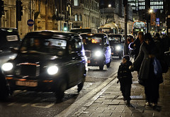 Rush Hour (Sven Loach) Tags: road uk winter boy england cold bus london cars night lights evening cyclist traffic britain transport mother streetphotography taxis explore pedestrians rushhour multicultural cabs doubledecker reportage londonstreets theobalds d5100