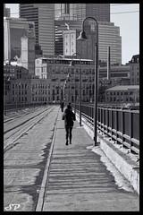 Cold Sunday Jog..... (SPP - Photography) Tags: winter minnesota minneapolis mississippiriver twincities stonearchbridge spp millcitydistrict topazsoftware topazbweffects sppphotography