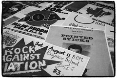 History behind the window (Eric Flexyourhead) Tags: old city urban bw music canada detail history window shop vancouver vintage blackwhite store punk bc display britishcolumbia pop posters flyers doa fragment seymourstreet grainyfilm pointedsticks artfilter panasoniclumix20mmf17 olympusem5