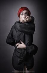 No comply (etto - ettone) Tags: red black look shirt dark hair eyes silk blouse conceptual redhair shutup concettuale superheroine handgagged ettone giuliamanzini longharms
