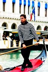 Portrait - Venetian Gondolier (Josh Novak) Tags: street travel venice portrait italy color water photography boat photo italia it row josh oar gondola venetian venezia gondolier novak