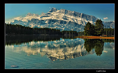 Terrific Two Jack (Jeff Clow) Tags: morning mountain reflection landscape mountrundle albertacanada banffnationalpark twojacklake tpslandscape