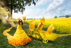 Wonderland 'Gaia's Spell' (Kirsty Mitchell) Tags: flowers yellow fairytale landscape boat magic spell wonderland enchanted rapeseed smokebomb galleonship kirstymitchell elbievaneeden gaiasspell
