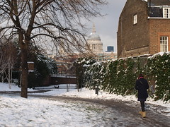 Down the garden path (Paul-M-Wright) Tags: street city uk winter england house snow cold tree london english tourism girl garden walking town cathedral boots path south scenic stpauls bank scene british snowing wintertime setting idyllic paulwright londonist photographty