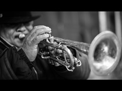 The trumpet player (Giulio Magnifico) Tags: portrait bw blackwhite citylife streetphotography trumpet 169 udine trumpeter nikond800 50mmafsf14g