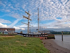 Tall ship (La Malouine) on the River Nith in dock at Glencaple near Dumfries (penlea1954) Tags: uk sea river la scotland dock ship outdoor estuary tall dg solway dumfries galloway nith malouine glencaple