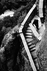 Meteora, Greece (jolantamazur) Tags: greece meteora monastery monk stairs staircase blackandwhite blackwhite highvantagepoint highview