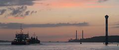 ahoi (ivosloman) Tags: ship schiff elbe hamburg canonfd85mm18 dusk dmmerung clouds sky water river leuchtturm lighthouse port evening