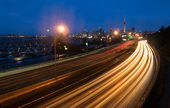 Auckland (marcosquilla) Tags: auckland highway road lights car sky blue hour