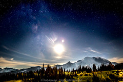 MT-Rainier-Moon-Headlights-8-13-16 (Rob Green - SmokingPit.com) Tags: blue mt rainier mountain snow sunrise stars astro astrophotography meteors shooting sky night slow shutter speed long exposure nature landscape vivid brilliant vibrant moon setting sun set clouds beautiful colors hour orange canon 7d mark ii rokinon 10mm ultra wide amgle lens f28 rob national forest glacier winter summer fall spring magic tripod active volcano cascade range cascades lunar cloud black background outdoor serene sunset