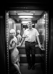 The Lift (Matthew Brown 7) Tags: bw noir lift couple elevator mirror lights electric feeling nikon d750 tamron 2470 f28 contrast