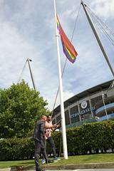 Etihad rainbow flag raising  (65) (villagemanchesterfc) Tags: rainbowflag manchestercity manchestercityfc manchestercityfootballclub football soccer gayfootball gaysoccer gay homosexual bisexual canalstreetblues etihadstadium