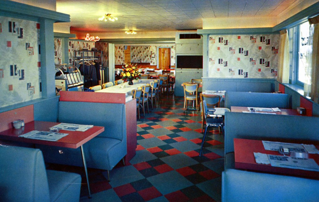 block motel dining room angola ny edge and corner wear tags vintage postcard - Linoleum Restaurant Interior
