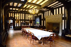 The Banqueting Hall (rustyruth1959) Tags: nikon nikond3200 tamron16300mm greatermanchester stockport davenport bramhall bramallhall tudor tudormansion house hall building banquetinghall dining table mirror chairs wood pictures portraits indoor fireplace lights crockery walls woodpanels brown white door