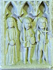 St James Taunton - The Font - Panel 8 - Saints Mary Magdalene Michael and John the Baptist (David Cronin) Tags: taunton somerset james saintjames font carving mary marymagdalene michael saintmichael archangel john saintjohnthebaptist