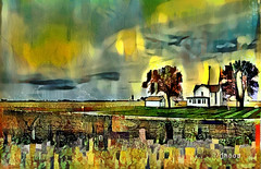 The Approaching Storm (Hood Ornaments) Tags: landscape abstract storm approaching lightening clouds rural house farm field digital art painting digitalphotomanipulation