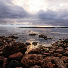 Lake (*hassedanne*) Tags: lake sweden vnern goldenhour stones hassedanne
