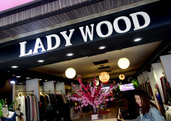 Ladywood (cowyeow) Tags: weird hongkong china chinese asia asian city street store shop business funnychina funnyhongkong sign funny funnysign bad badsign silly kowloon mall clothing fashion bras apparel strange display mongkok wood lady boner girl candid