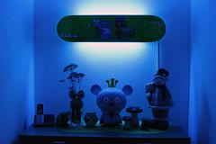 Deck Mounted On Wall (Blue LED On) (www.bazpics.com) Tags: lighting light color colour colors wall colours hallway led mount mounted skateboard behind lit custom uglydoll hung uglydolls