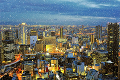 Winter's gifts to my city (y2-hiro) Tags: city winter light snow dusk osaka buildungs