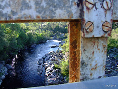 waterfell farm (MadCoreyPhotography) Tags: road bridge water river rust snowymountains khancoban swampyplainsriver