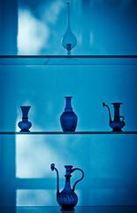 Five vessels (campra) Tags: new york blue art glass museum brooklyn vitrine shelve wwwbrooklynmuseumorg